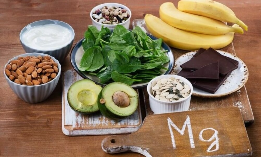 Magnesium rich foods on a wooden table